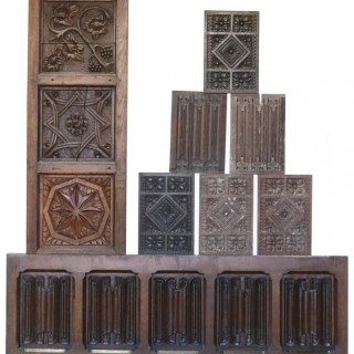 A Collection of Antique Carved Oak Panels