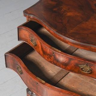 Georgian Style Figured Walnut Serpentine Chest of Drawers 29889