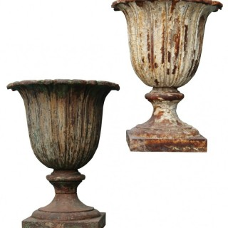 A Pair of Antique Victorian Cast Iron Garden Urns