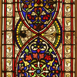 An Antique Medieval Style Stained Glass Window Panel