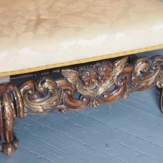 Charles II Style Gilded Walnut Humpback Sofa