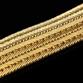 Mauboussin Vintage 18ct Yellow Gold Wide Strap Bracelet 1957
