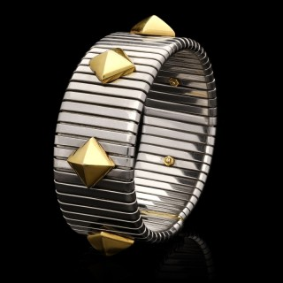 Bulgari a Gold & Stainless Steel Turbogas Sprung Cuff Bracelet