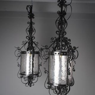Pair of 1920s Blacksmith Made Cast Iron Hall Lanterns