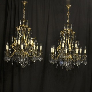 French Pair Bronze 12 Light Antique Chandeliers
