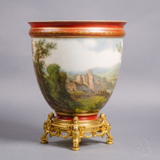 A Rare Painted Opaline Vase