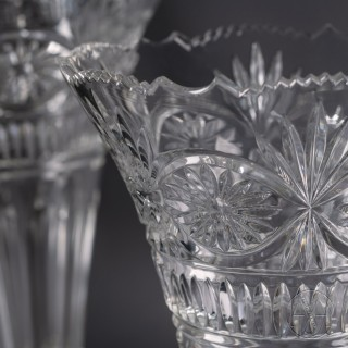 A Pair of Victorian Silver-Plated and Cut-Glass Vases