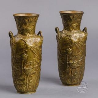 A Pair of Bronze Art Nouveau Vases  By Alexandre Vibert