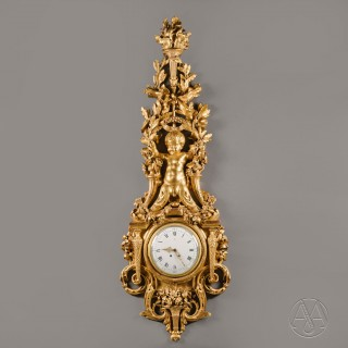 A Large Louis XVI Style Carved Giltwood Clock and Barometer Set