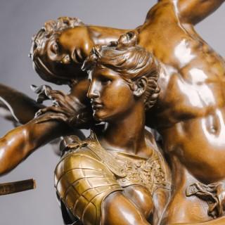 'Gloria Victis' – A Patinated Bronze Figural Group. After Mercié