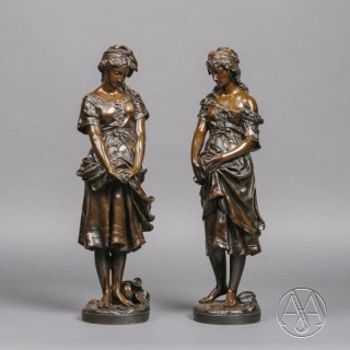 'La Cruche Cassee'  - A Pair of Patinated Bronze Figures