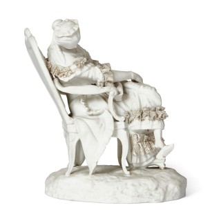 Pair of Rococo style bisque porcelain female figures