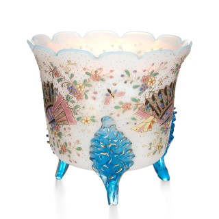 French opaline glass planter painted with floral designs