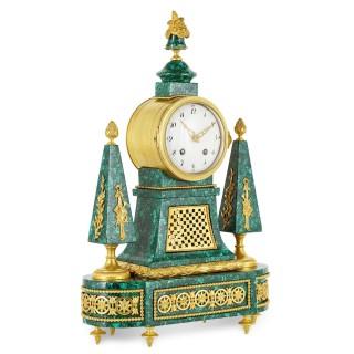 Louis XVI period gilt bronze mounted malachite clock
