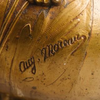 Auguste Moreau, An Art Nouveau Gilt-Bronze Vase Depicting a Naiad