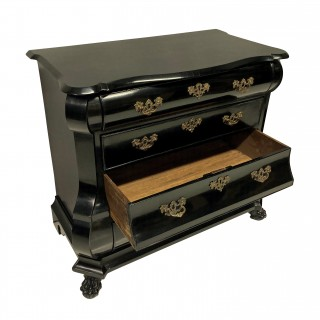A DUTCH EBONISED CHEST OF DRAWERS