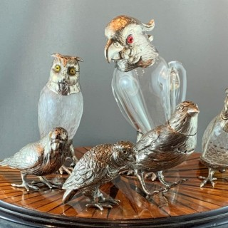 A menagerie of Victorian and Edwardian silver mounted animals.