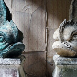A Large Pair of 20thC Cast Stone Dolphins On Plinths c.1940-60