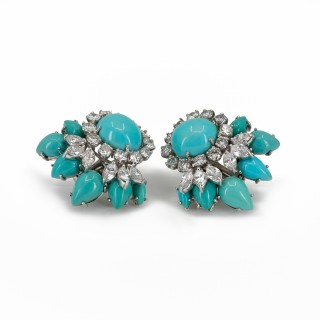 Turquoise and diamond earrings mounted in 18 carat white gold
