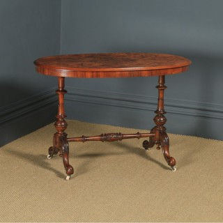 Antique English Victorian Burr Walnut Inlaid Oval Occasional Silver Side Table (Circa 1870)