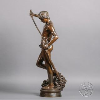 A Bronze Figure of 'David vainqueur de Goliath' By Antonin Mercié