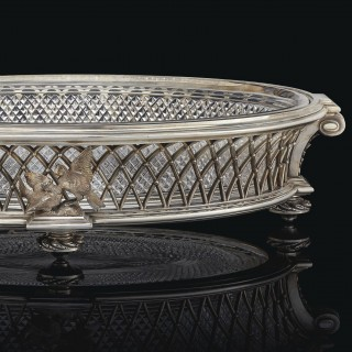 An Elegant Cut-Crystal and Silver-Plated Centrepiece