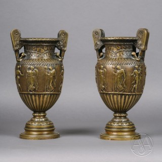 A Pair of Patinated Bronze Vases Cast After the Antique