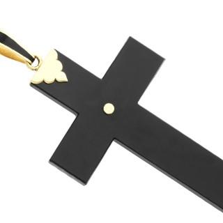 Black Onyx and 0.42ct Diamond, 18ct Yellow Gold Cross Pendant - Antique Circa 1850
