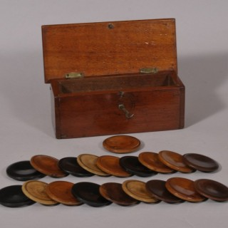 Antique Treen 19th Century Mahogany Lidded Box with Gaming Counters for the Game of Squails