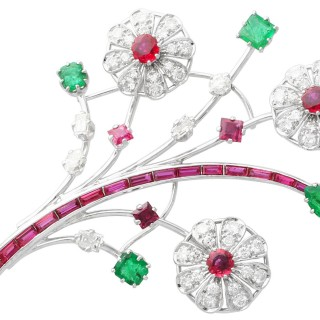 4.45 ct Thai Ruby, 1.90 ct Zambian Emerald and 3.85 ct Diamond, Platinum and White Gold Spray Brooch - Antique Circa 1935