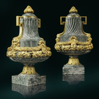 A Pair of 19th Century Gilt-Bronze Mounted Green Marble Vases