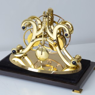 English Timepiece Fusee Skeleton Clock with Planetary Gearing