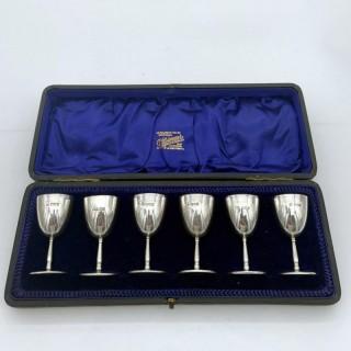 Antique Edwardian Sterling Silver Set Six Liquor Cups London 1909 Wakely & Wheeler