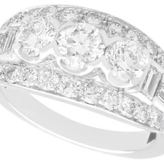 1.63 ct Diamond and 14 ct White Gold Trilogy Ring - Antique Circa 1930