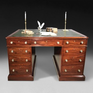 Early 19th Century Mahogany Twin Pedestal Partners' Desk
