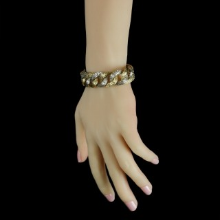 Two-Tone 18 Carat and White Gold Textured Link Bracelet, French, circa 1970s