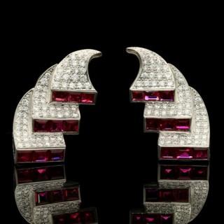 Stunning Retro Diamond and Ruby Triple Scroll Earrings by Drayson, circa 1950s