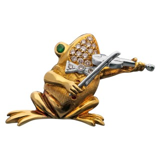 Violinist Musical Frog Diamond Emerald & Gold Brooche by Wolf, 1990