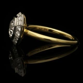 Hancocks 1.21 Carat D VS2 Old European Cut Diamond Octagonal Cluster Ring