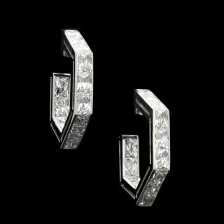 Hancocks French-Cut Diamond Geometric Hoop Earrings