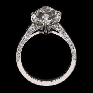 Hancocks 5.31 Carat I VS1 Lozenge Stepcut Diamond and Calibre Sapphire Ring