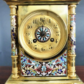 French Gilt Champleve Decorated Clock Garniture