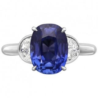 Hancocks 3.99 Carat Old Cushion Cut Sapphire in Platinum Half-Moon Diamond Ring