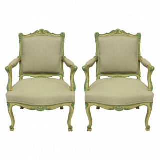 A PAIR OF LOUIS XV STYLE ARMCHAIRS IN PALE YELLOW & GREEN PAINTS