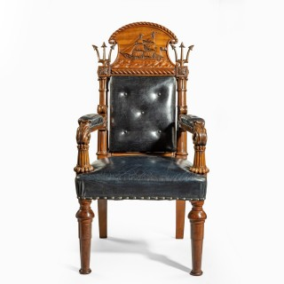 A large and imposing Regency nautical chair made for the Alliance Assurance company