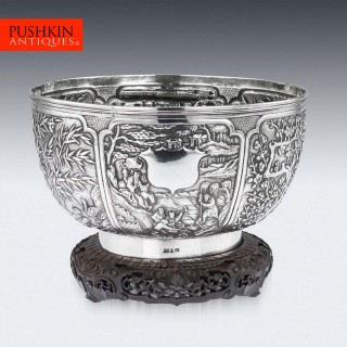 ANTIQUE 19thC CHINESE EXPORT SOLID SILVER FRUIT BOWL, WANG HING c.1880