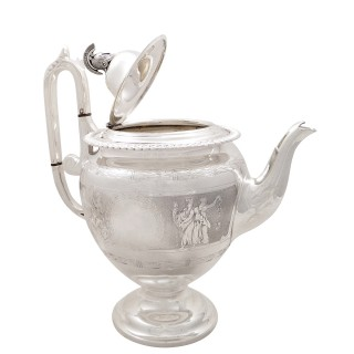 Antique Victorian Sterling Silver Teapot with Scenes 1871