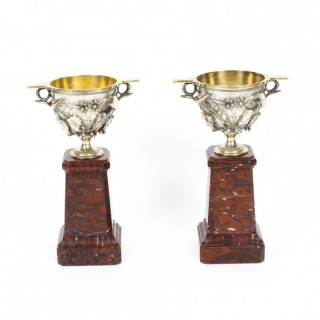 Antique Pair French Grand Tour Silvered Bronze Pedestal Urns C1860 19th C