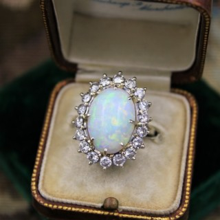 A very fine Opal and Diamond Cluster Ring set in 18ct White Gold, English, Circa 1960