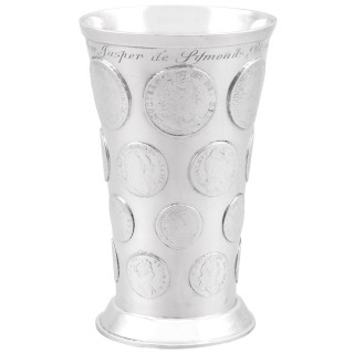 Sterling Silver Coin Beaker - Antique Victorian